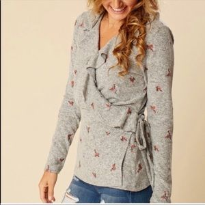 Altar'd State Gray Floral Ruffle Wrap Cardigan